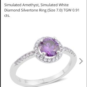 Jewelry - Simulated Amethyst and Diamond Ring. Size 7